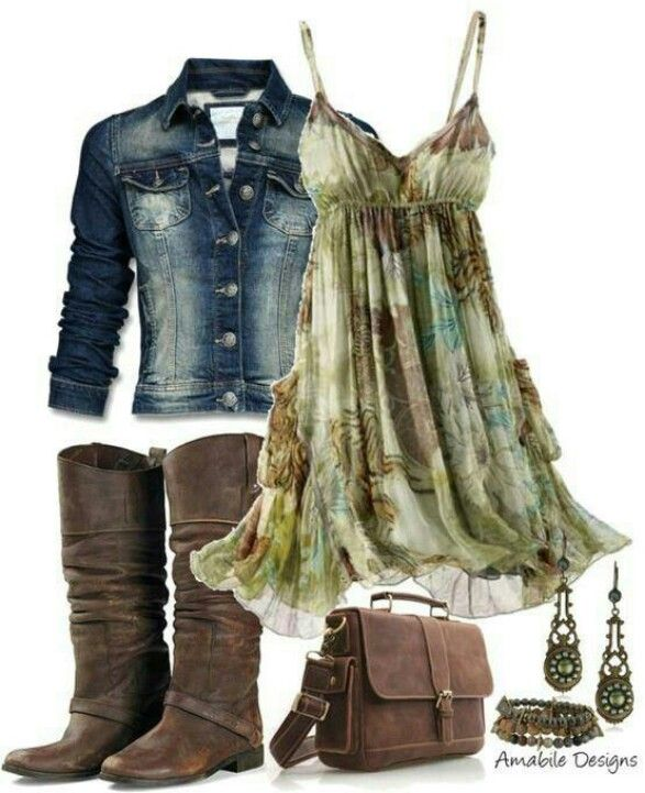 cute dress and blue jean jacket, would wear this with my cowboy boots, tho.