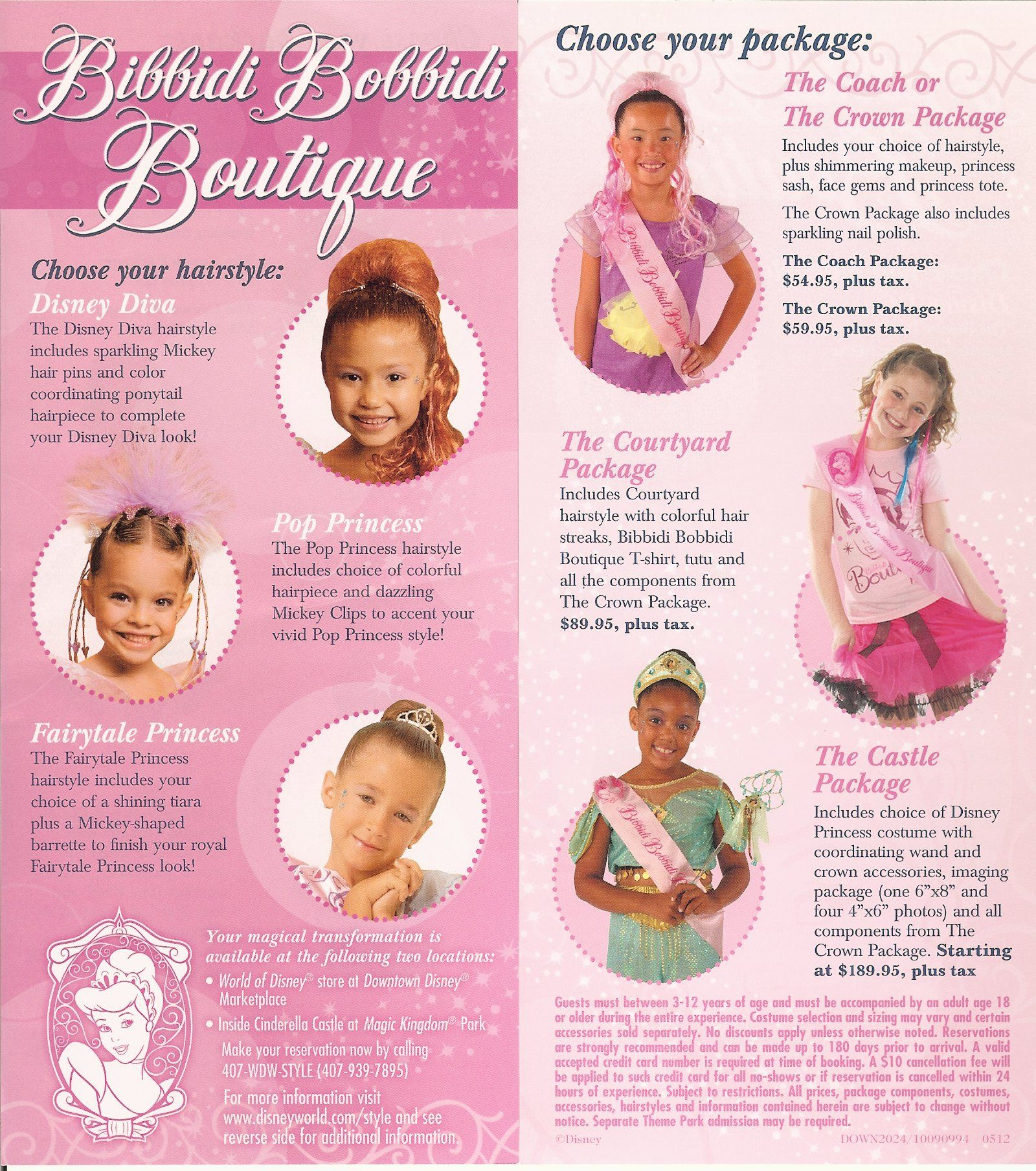 Bibbidi Bobbidi Boutique Brochure There Are Different Packages To Choose From Girls Salon
