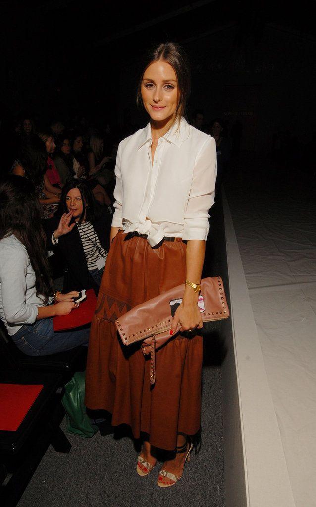 Tan Leather Midi Skirt