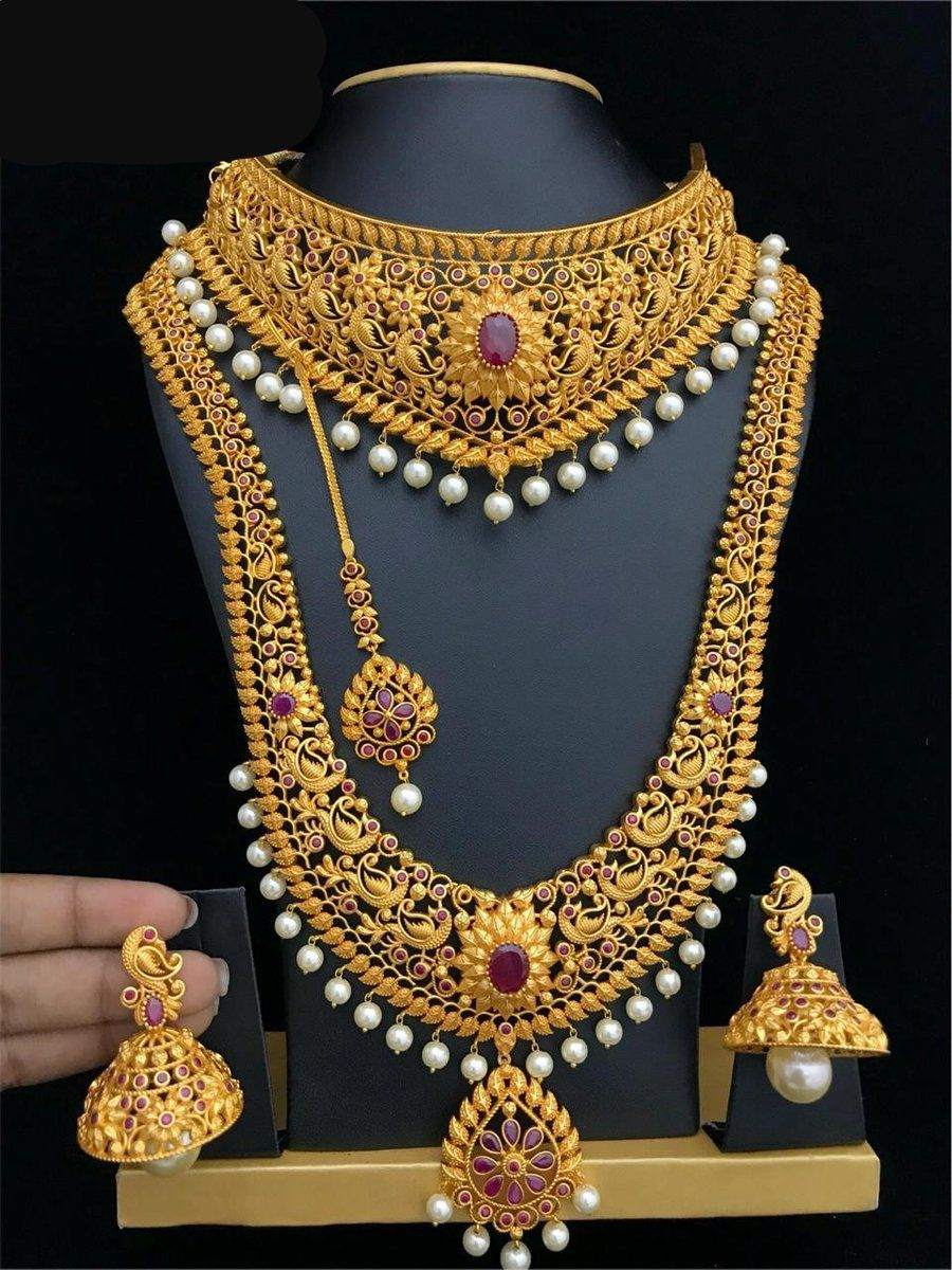 Style Long Set Choker Necklace Earrings Maang Tikka Bridal Gold Jewellery Bridal Necklace Set Gold Necklace Indian Bridal Jewelry