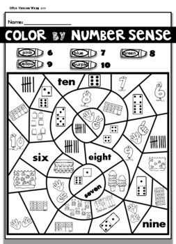 Kindergarten Math : Numbers 1-10 Color by Number Sense Distance Learning
