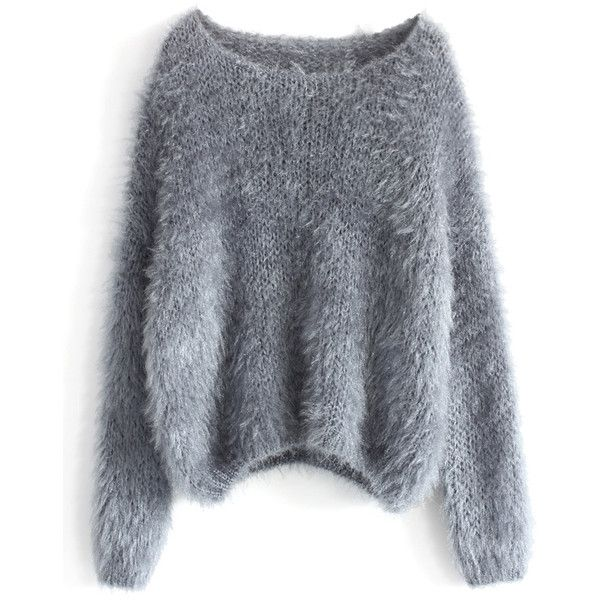 90b696f5d3 Chicwish Fuzzy Knitted Sweater in Grey ( 53) ❤ liked on Polyvore featuring  tops