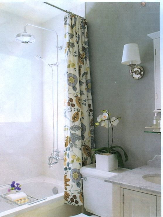 White Blue Yellow Floral Shower Curtain