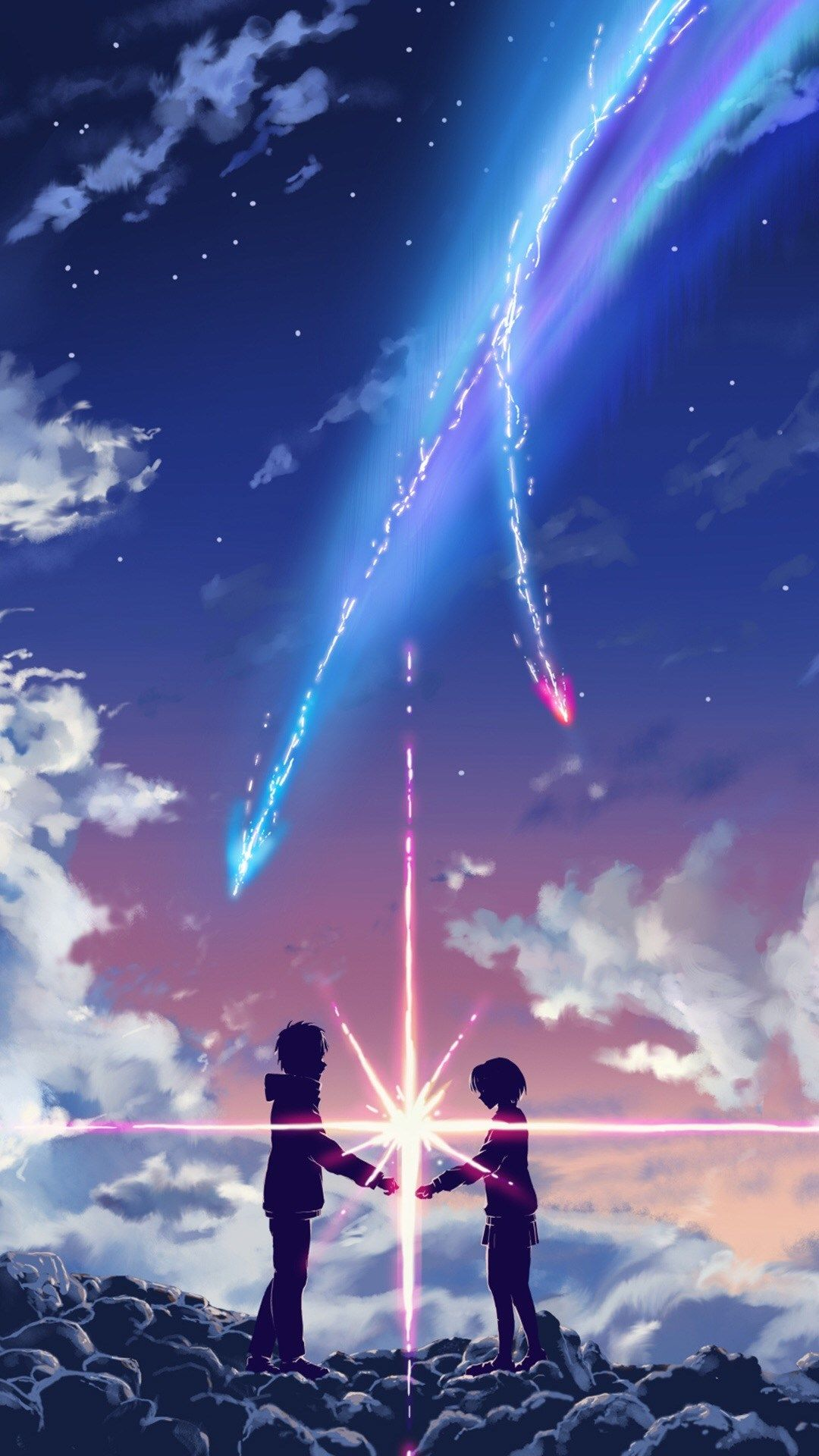 Your Name Movie Touching Through Space Poster Iphone  Wallpaper
