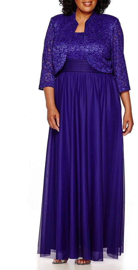 815d90a2571 R   M Richards R M Richards Long-Sleeve Lace Jacket Dress - Plus ...