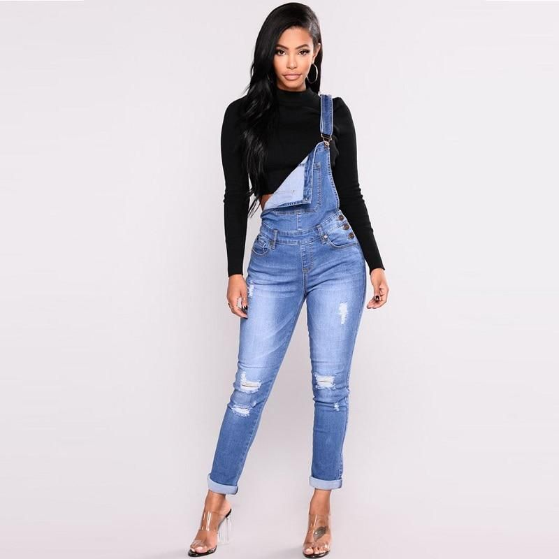 438cf9483aea Autumn women elastic cotton washed ripped denim overalls Suspenders jeans  jumpsuit Fashion dungarees overalls for women