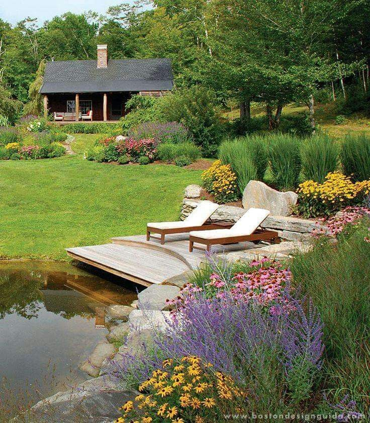 Pin by vickie brown on favorite places spaces pinterest for Lake home landscape design