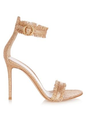 Rose-gold glitter-embellished leather takes Gianvito Rossi's signature  Portofino sandals to glamorous new heights. They're expertly crafted in  Italy with a ...