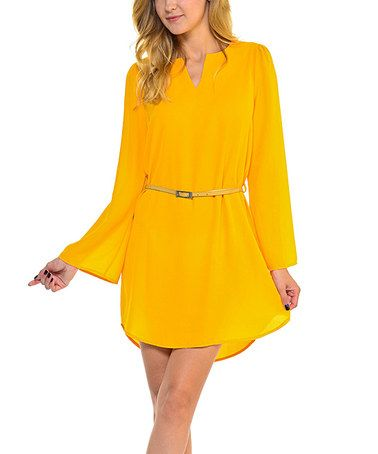 a7b01d2af94f Another great find on #zulily! Mustard Scoop-Hem Belted Dress #zulilyfinds  Hi