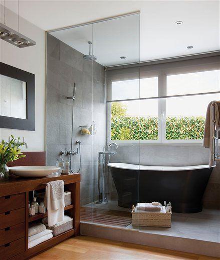 Resultado de imagen de bañera exenta y ducha en espacio unico Baño
