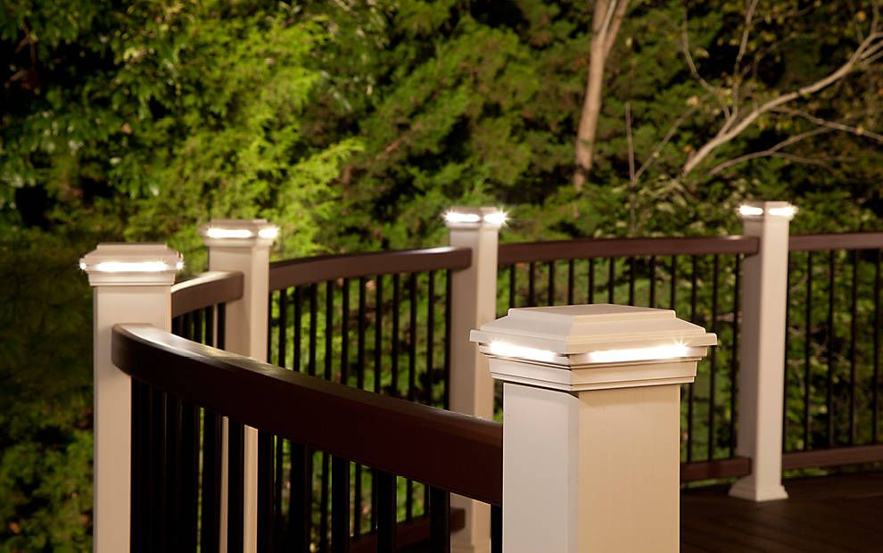 Make your decking handrails a real feature with these flat post cap create the evening ambiance you want with outdoor led deck lighting by trex from step lights to post lights illuminate your deck with trex aloadofball Choice Image