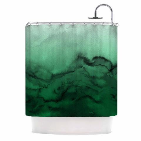 Ebi Emporium Winter Waves 7 Green Black Shower Curtain