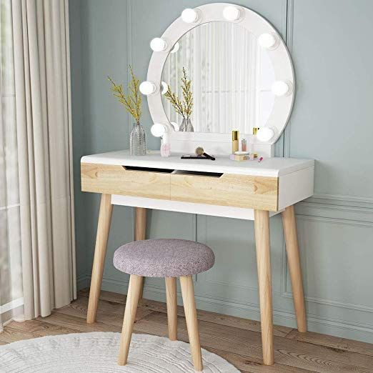 Best Amazon Com Tribesigns Vanity Set With Round Lighted Mirror Wood Makeup Vanity Dressing Table 400 x 300