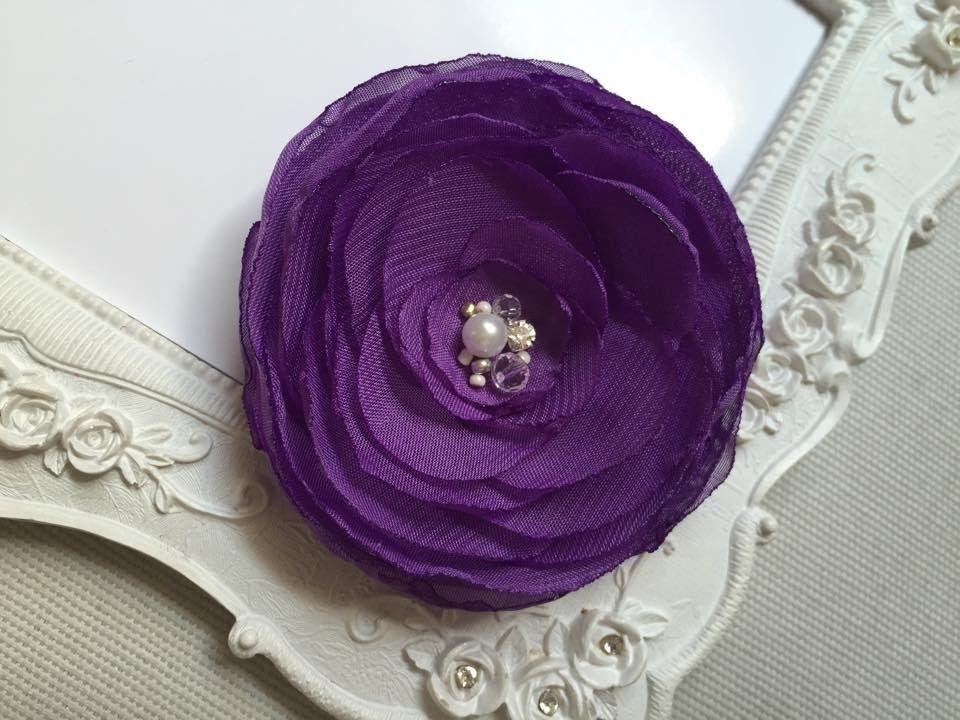 Mariage Pince cheveux fleur de mariée mauve lilas, rose pour coiffure de mariage Yna : Accessoires coiffure par fleurs-de-provence
