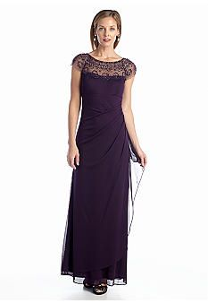Xscape Cap Sleeve Gown with Embellished Neckline