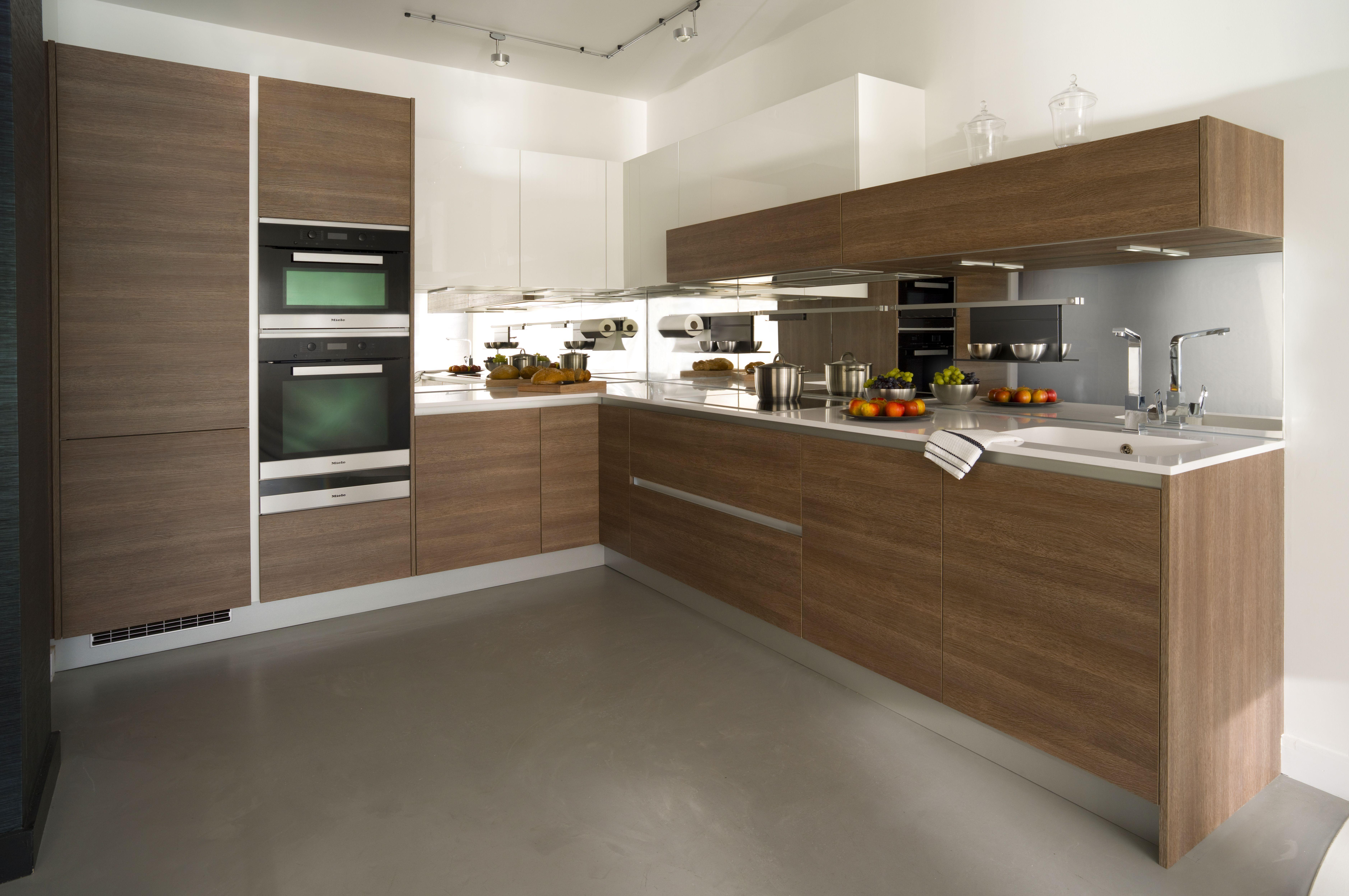 American Oak & White Gloss in 2020 Handleless kitchen