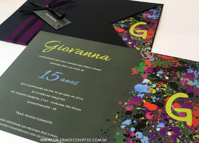 Convite De 15 Anos Convite 15 Anos Convite Convite Festa Neon