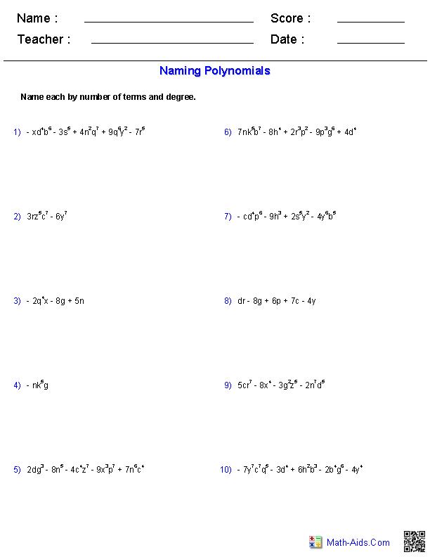 Naming Polynomials Worksheet: Naming Monomials and Polynomials Worksheets   Math Aids Com    ,