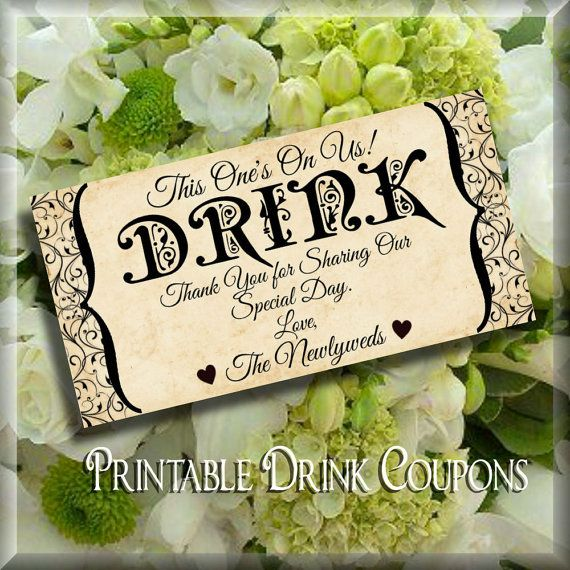 grunge drink tickets for weddings printable instant download digital