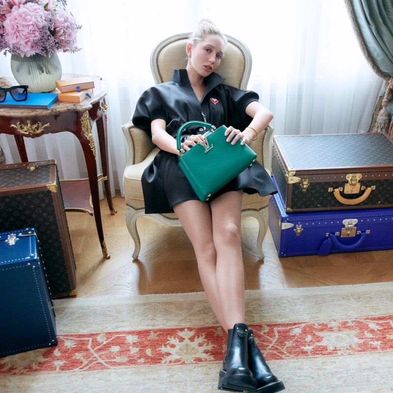 Princess Olympia Of Greece Poses With Louis Vuitton Capucines Bag Louis Vuitton Louis Vuitton Clothing Vuitton