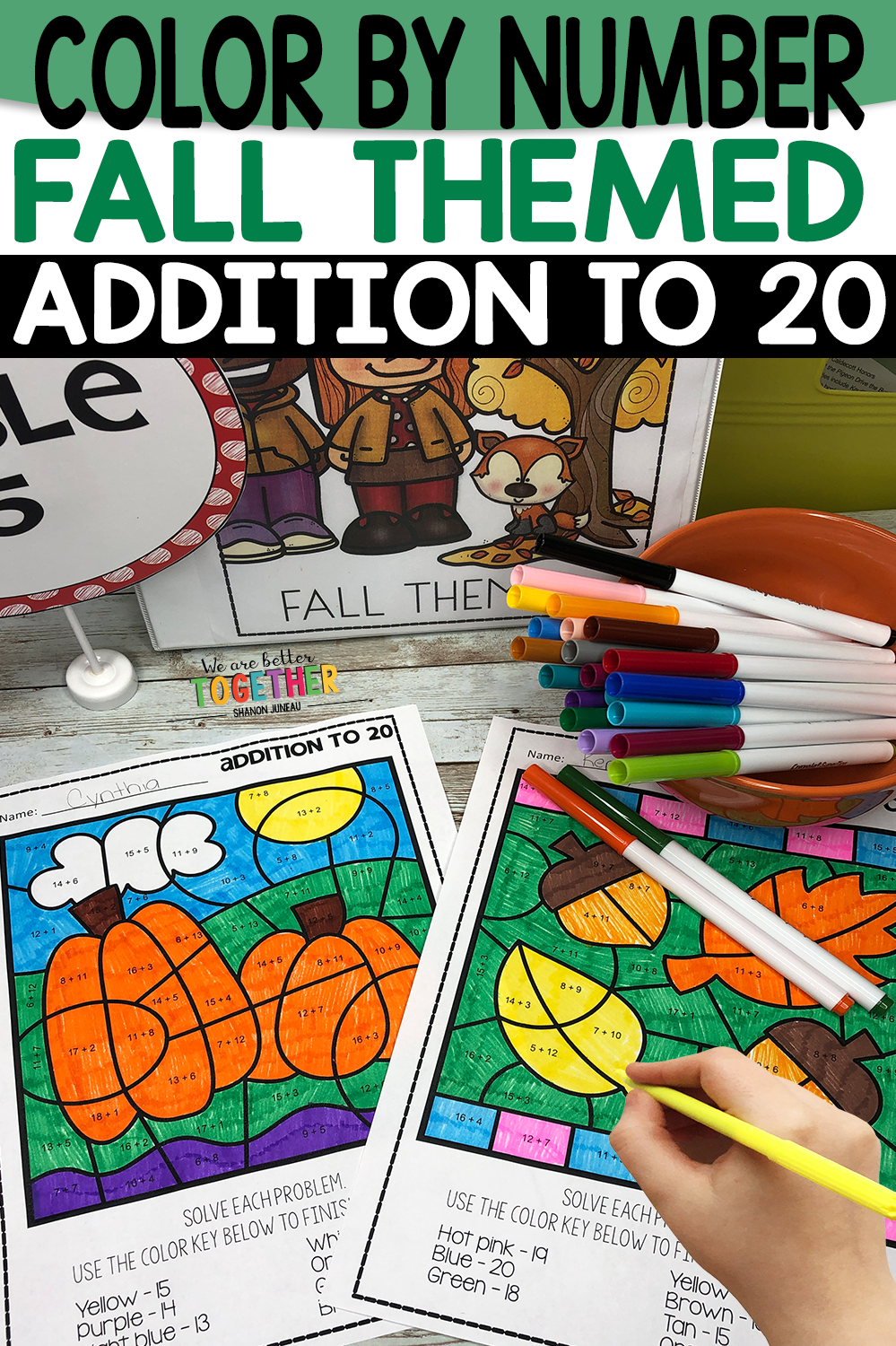Color By Number Math Worksheets We Are Better Together Kindergarten Math Games Elementary Activities 1st Grade Activities [ 1500 x 999 Pixel ]