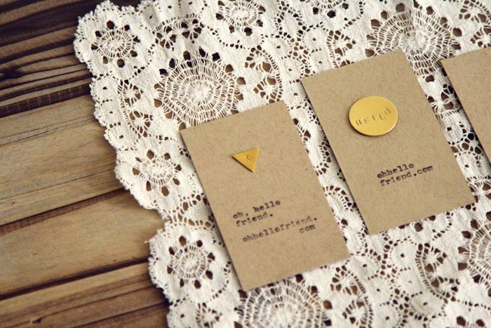 diy stamped metal business card idea from danni at oh, hello friend. So cute and simple.