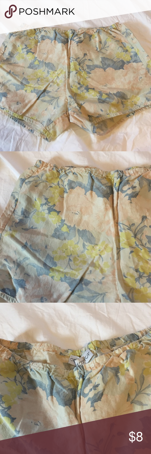 Comfy Elastic Waist Shorts Love the color on these floral flowy shorts. Elastic waist makes them even more comfy. Wear them as pjs or with sandals and a tank to the beach! Shorts