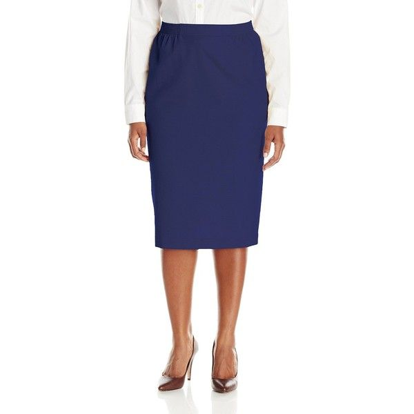 Alfred Dunner Women's Plus-Size Faux Linen Skirt ($44) ❤ liked on Polyvore featuring skirts, plus size, faux-leather skirts, plus size knee length skirts, womens plus size skirts, linen skirt and blue linen skirt