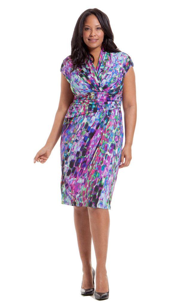 Ivy + Blu Shirred Surplice Neckline Dress Front. The geo print is ...