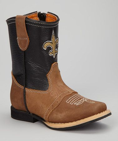 Take a look at this New Orleans Saints Quarterback Roper Cowboy Boot - Kids by Old Pro Leather Goods Co. on #zulily today!