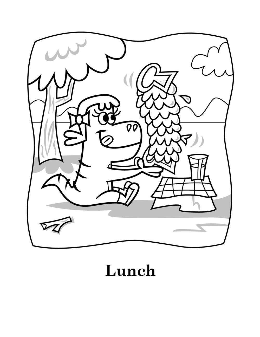 Printable coloring page Lucy's eating lunch, yum