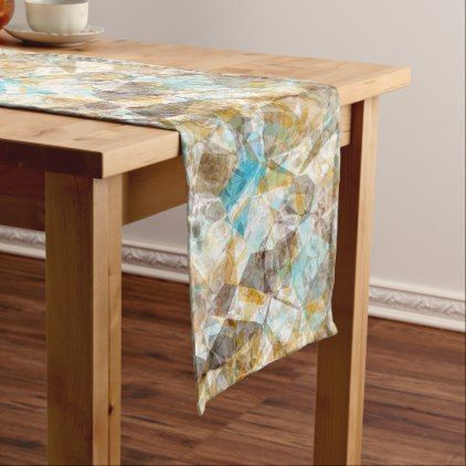 Cool Funky Modern Retro Polygon Mosaic Pattern Long Table Runner