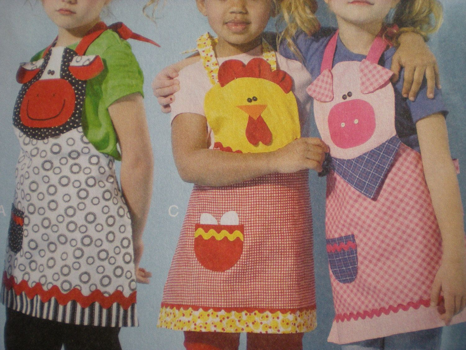 Children\'s Aprons Sewing Pattern, Cow Apron, Pig Apron, Chicken ...