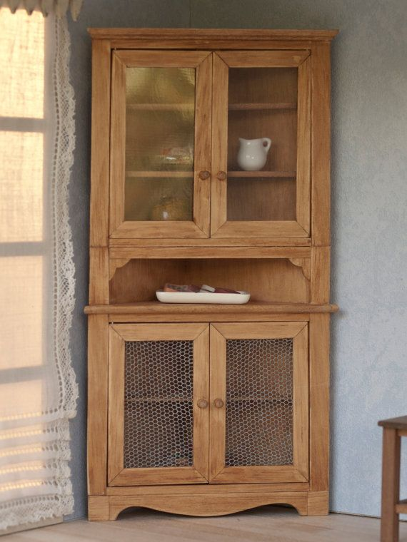 Rustic corner cupboard, miniature for dollhouses, scale 1:12. The ...