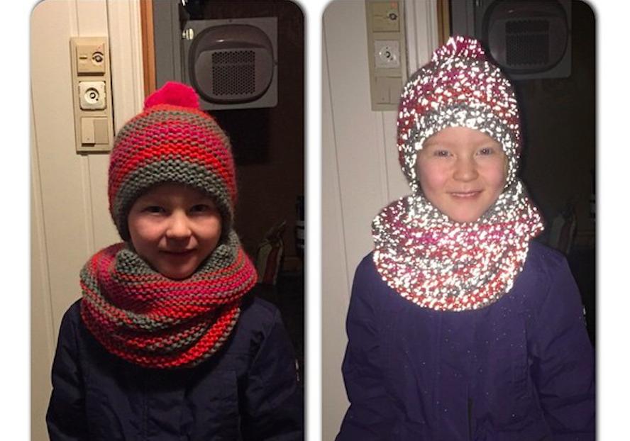 Strikket med refleksgran. Genialt og sikkert!  Knittet with reflective yarn in between. Brilliant!