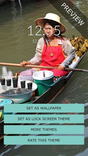 """Thailand Wall & Lock<p>Tailandeze woman selling food from her boad on the canal at the floating market.<p>It's easy, to install the wallpaper push the """"Set as Wallpaper"""" button.<br>On the lock screen side, Thailand is a theme for Rocket Locker, so if you don't already have it installed, you'll be redirected to Google Play in order to install it.<p>* The Thailand screen lock theme requires Rocket Locker which you can install free from Google Play…"""