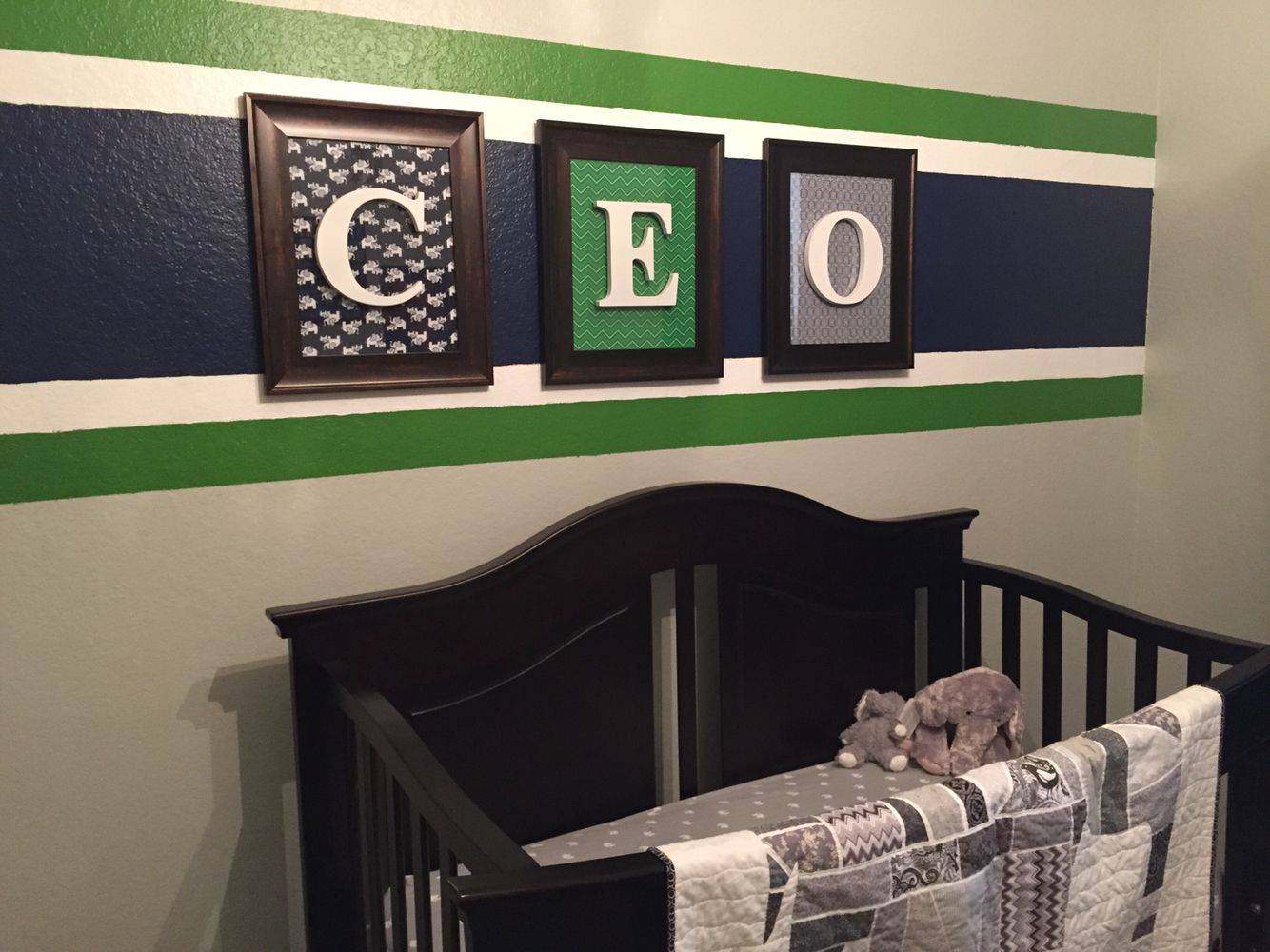 Baby boy's room. CEO's room is finished! Thanks Pintrest!