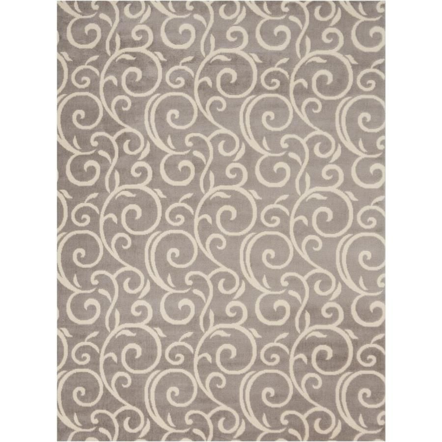 Nourison Grafix Grey Rectangular Indoor Machine Made Area Rug Common 5 X 8 Actual 5 Ft W X 7 Ft L 99446411921 In 2020 Grey Area Rug Area Rugs Rugs
