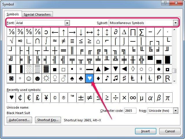 Inserting A Heart Symbol In Microsoft Word Symbols Pinterest