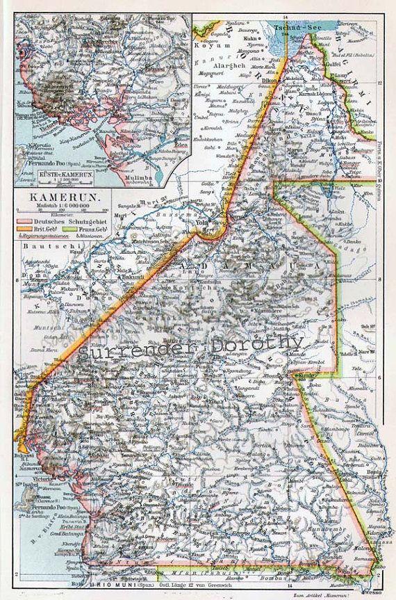 World Bedroom Furniture: Cameroon Africa Map Vintage Edwadian Era 1906 Antique