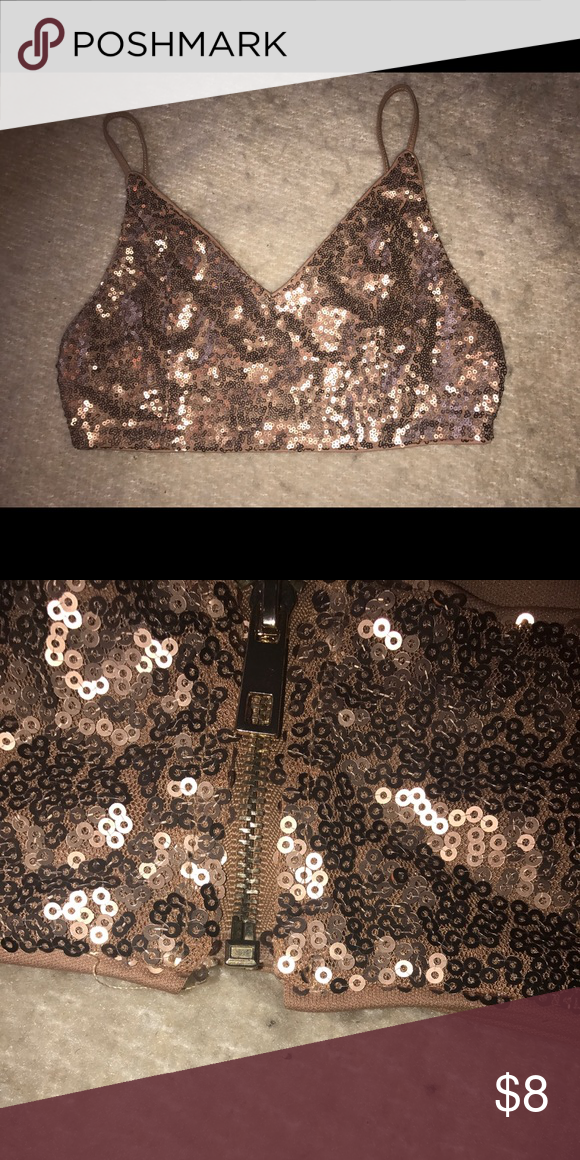 f59513e43a3ae4 FOREVER 21 BRALETTE Super cute gold  rose gold sequin bralette. Has zipper  detailing in the back. In good condition! Forever 21 Intimates   Sleepwear  Bras