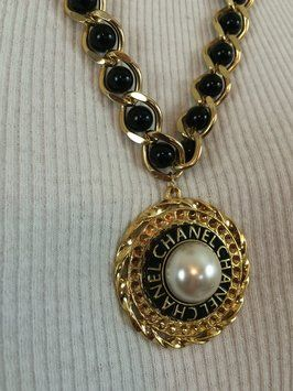 21b7ee2f292e0 Chanel Reserved. Authentic Chanel Button Repurposed on a Black and ...