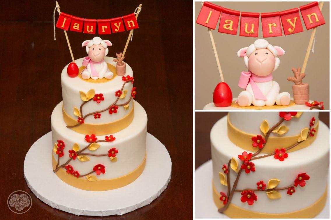 Red Egg Ginger Fondant Monkey Cake
