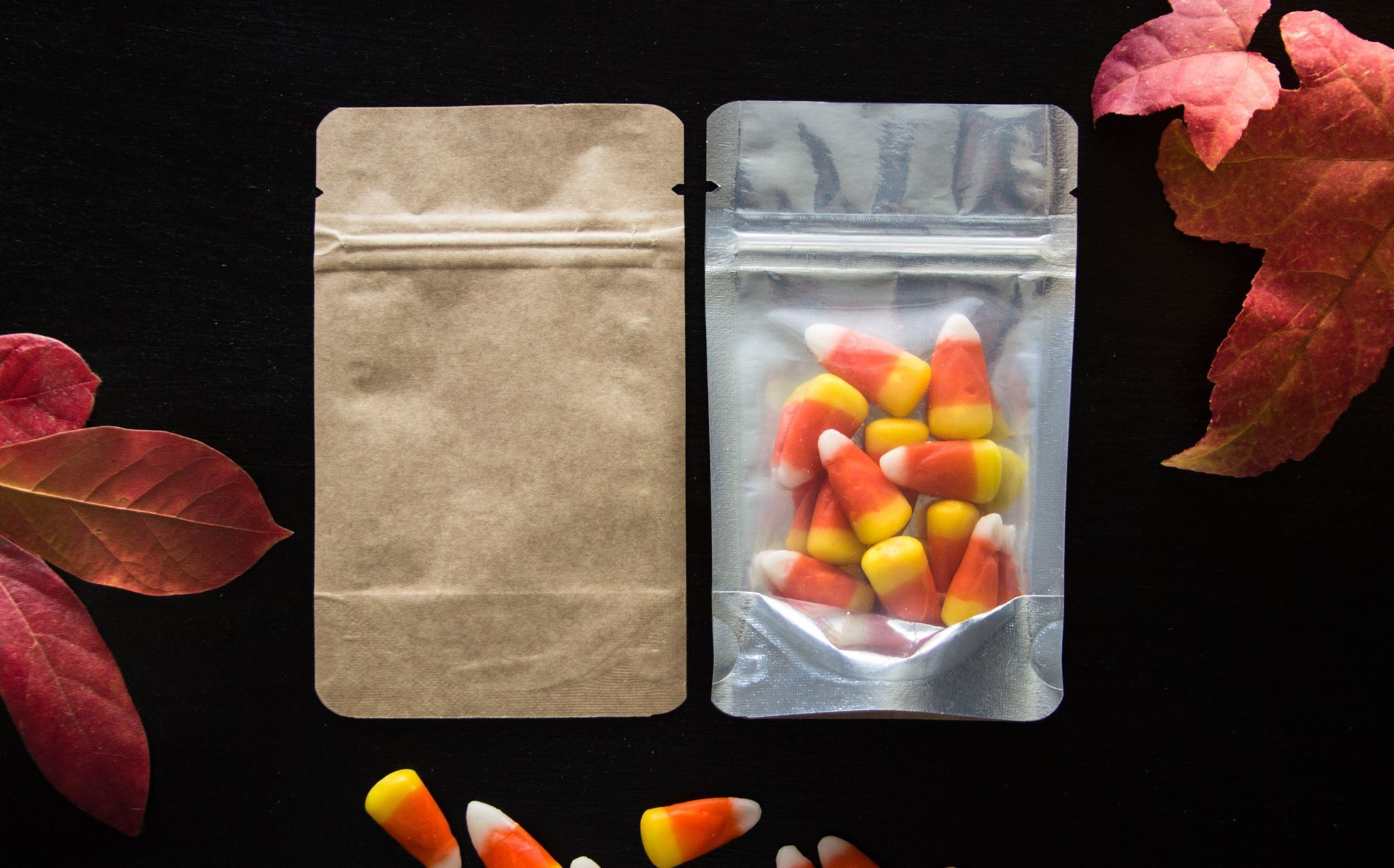 They're here. Kraft backed pouches. We love these bags.