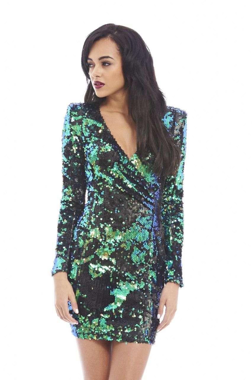 b550a9285b7 Coloured Long Sleeve Wrap Front Sequin Covered Bodycon - AX Paris ...