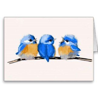 Three Adorable Baby Bluebirds Blank Note Card | Blue bird, Flower painting,  Blank note cards