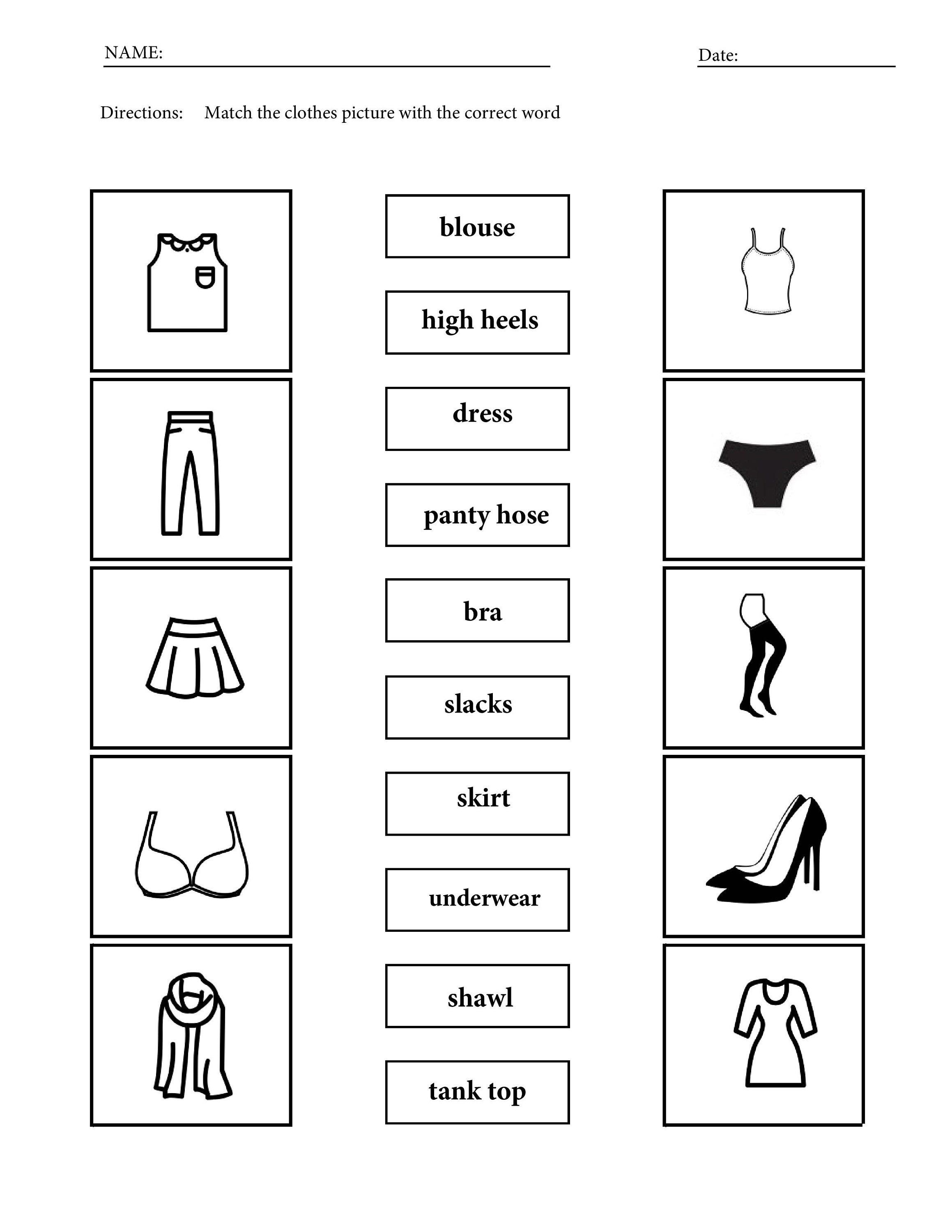 Printable Women Men Clothing Vocabulary Worksheets For