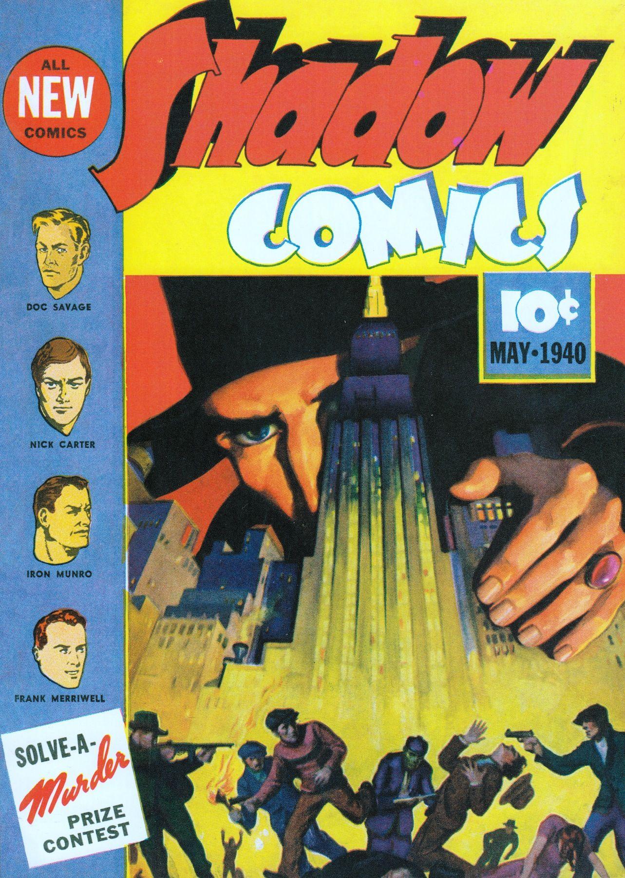 SHADOW COMICS #3 May 1940 George Rozen. (please follow minkshmink on pinterest) #shadowcomics #comics #comiccover