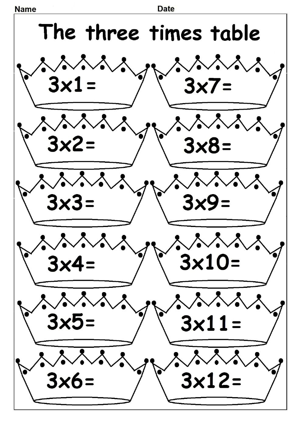 Printable 3 Times Table Chart Times Tables Worksheets Multiplication Times Tables Multiplication