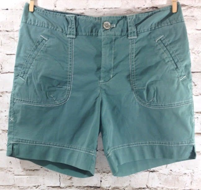 Eddie Bauer Special Dyed Shorts Sz 4 Cotton Stretch Flap Pockets Blue Green EUC #EddieBauer #CasualShorts